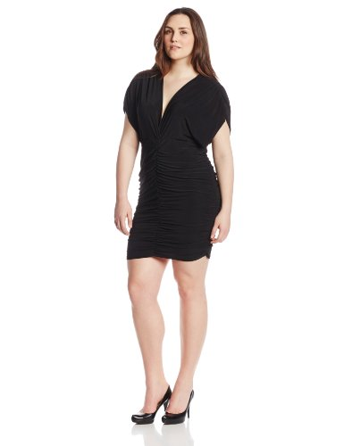B00HD6QO40 Star Vixen Women's Rouched Cocoon Dress, Black, 2X