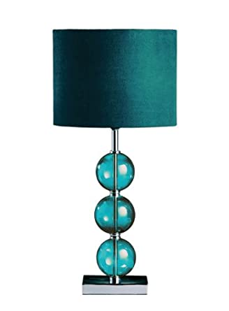 Premier Housewares Mistro Teal Table Lamp With 3 Glass