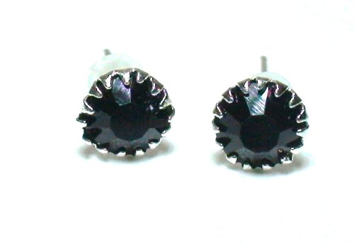 Silver Tone Black Rhinestone Birthstone Stud Earrings Fashion Jewelry Collection