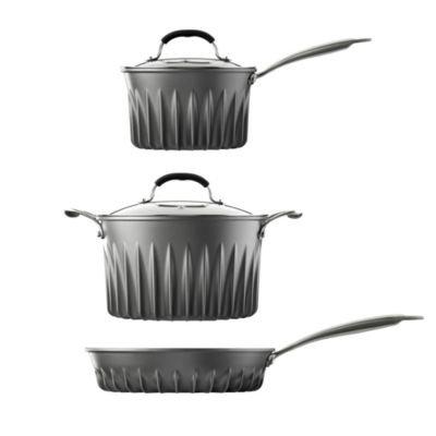 Lakeland Flare 3 Piece Pan Set (20cm Saucepan, 24cm Stock Pot & Frying Pan)