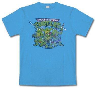 Teenage Mutant Ninja Turtles * Distressed Print * light blue * Shirt * XXL * Maglietta Originale * LIQUIDAZIONE * ARTICOLO UNICO *