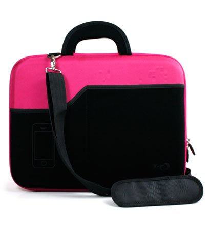 Asus 15.6 inch Notebook Laptop A52F-XA1 Magenta Hard Nylon Case with Black Neoprene Outside Pocket for Cellphone and Accessories