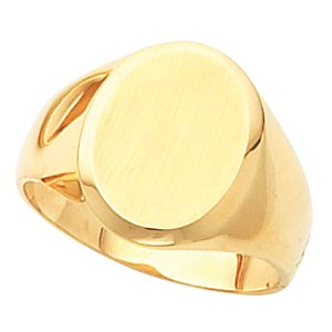 14K Yellow Gold Gents Signet Mounting with brushed finish: 12.50X10.50 MM Size: 10