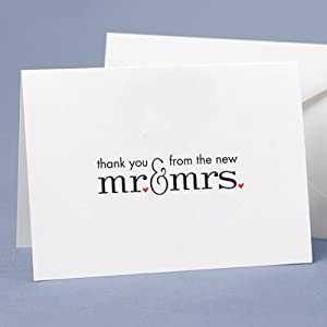 Mr. & Mrs. Thank You Cards and Envelopes - Pack of 50