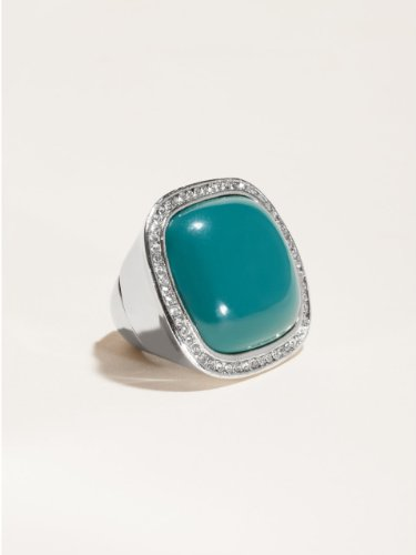 GUESS Teal Rectangle Stretch Ring