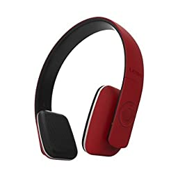 Leme EB20A Wireless Ergonomic Bluetooth 4.0 Over Ear Headphone with Built-in Mic and 12 Hour Battery, with Noise Reduction and Echo Cancellation, Perfect Headset for Gaming and Music (Red)