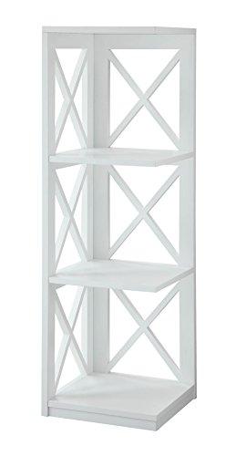Convenience Concepts Oxford 3-Tier Corner Bookcase, White (Corner Accent Table compare prices)