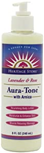 Heritage Store Massage Lotion, Aura-Tone Lavender and Rose with Arnica, 8 Ounce