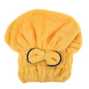 1Pcs Home Textile Microfiber Solid Hair Turban Quickly Dry Hair Hat Wrapped Towel Bath 6 Colors Available^Yellow