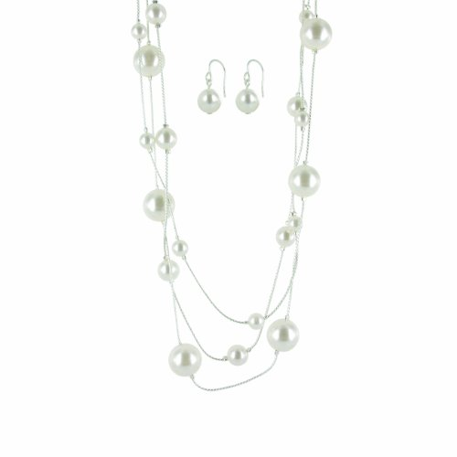 Cream Simulated Pearl Illusion Chain Earrings and Necklace Set, 16+2