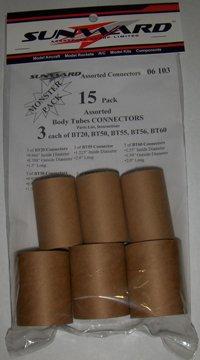 15 Pack Assorted Model Rocket Body Tube Connectors 3 each BT20, BT50, BT55, BT56, & BT60