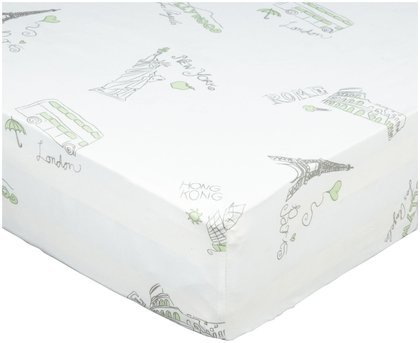 Oliver B City of Dreams Crib Sheet - Mint/Grey/White - 1