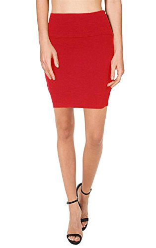 Bodycon Above Knee Pencil Skirt for Women Short Cotton Stretchy Mini Skirt (Red, Medium),Medium,Red (Red Pencil Skirt compare prices)
