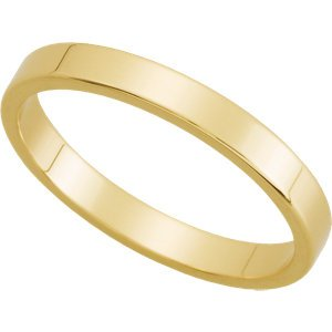 14K Yellow Gold Flat Wedding Band: 2.5mm: Size 4