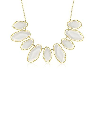 Riccova 14k Gold Plated Cz Large Clear Sand Stone Chain Necklace