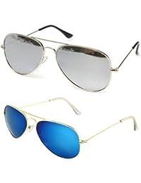 Sheomy Unisex Combo Pack Of Mirrored Aviators Glasses For Men And Women - Mirrored Sunglasses ( Silver Mercury...
