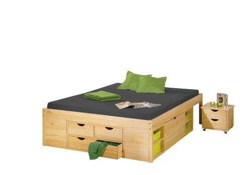 30400645 Bett 160x200 cm Doppelbett Stauraumbett Funktionsbett natur Rost Kiefer massiv