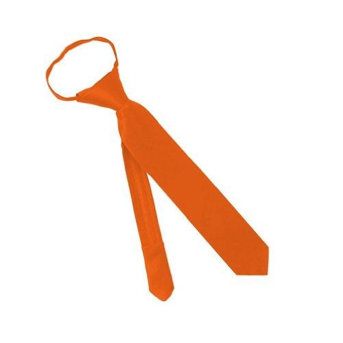 Solid Color Toddler Boys 11 Inch Zipper Tie - Burnt Orange front-495673