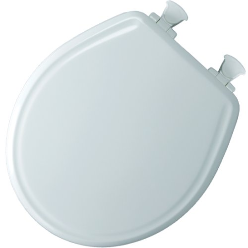 Mayfair 48E2 000 Slow-Close Molded Wood Toilet Seat with Lift-Off Hinges, Round, White