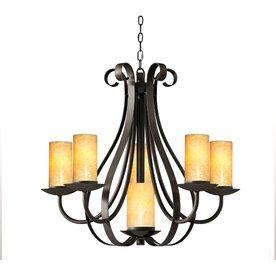 Allen roth 6 light bronze chandelier for Allen roth bathroom light fixtures bronze