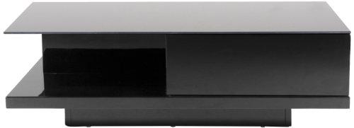 33047 Couchtisch Bjarne, Glasplatte, 1 Schublade, ca. 120 x 36 x 60 cm, schwarz hochglanz