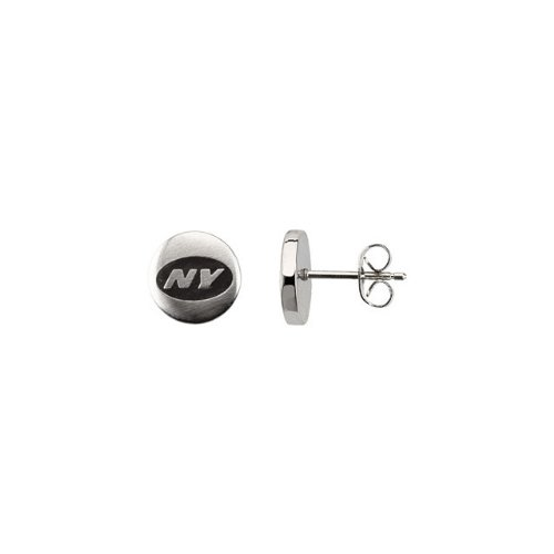24676 St Steel Pair 10mm New York Jets Logo Stud Earrings Football NFL Men Team