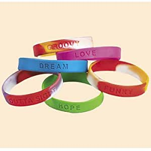Amazon Com 100 Pc Wholesale Lot Of Kids Rubber Bracelets