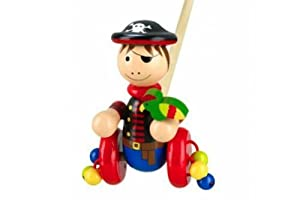 Wooden Pirate Boy Push a long Toy for Toddlers