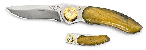 "Lone Wolf Knives Paul Presto 2.4"" Blade - Tiger Eye Stone Handles"