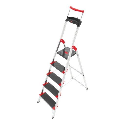 HAILO 8895-001 Alu-Sicherheits-Haushaltsleiter mit Multifunktions-Schale und Sicherheits-Haltebügel. Belastbar bis 225 kg.- 5 Stufen