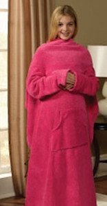 Kids Size Pink Body Blanket With Sleeves front-569481