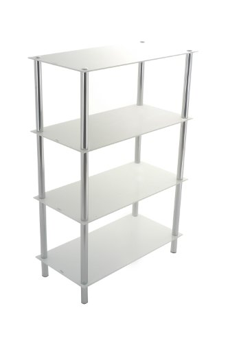 4-Tier white glass shelving rack-Contour 4-Tier Display Glass Unit-We deliver to main land UK,EXCEPTIONS Channel Islands,Scotish Highlands and Ireland.