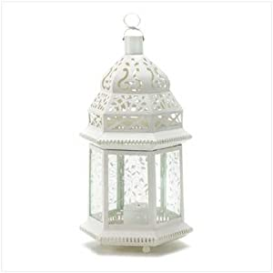wedding reception decoration ideas, white moroccan lantern