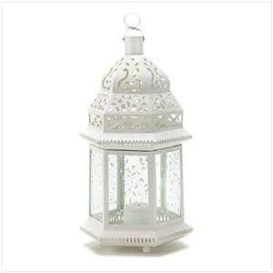 wedding reception decoration ideas, white moroccan lantern