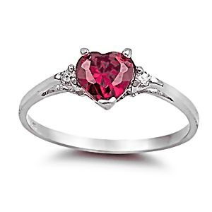 Sterling Silver 1.02ct Heart-cut Created Ruby and Russian Ice CZ Promise Friendship Ring, Ranae size 7.0