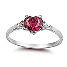 buy Ranae: 0.81Ct Heart-Cut Simulated Ruby And Iof Cz Promise Friendship Ring 925 Silver, 3144 Sz 7.0