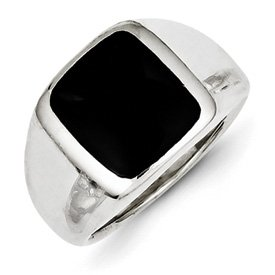 Genuine IceCarats Designer Jewelry Gift Sterling Silver Synthetic Onyx Ring Size 8.00
