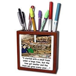 Rich Diesslins Cartoon Days of Christmas TCDC - Larry Millers Small Train Set - Tile Pen Holders-5 inch tile pen holder