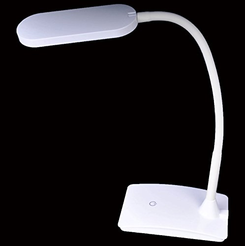 Cutequeen Trading 6 Watt, 3-Level Dimmable Touch-Sensitive Controller, Eye-Care Pure White Led Desk Lamp,No Ghosting,No Flickering,White,
