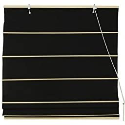 Oriental Furniture Cotton Roman Shades - Black - (36 in. x 72 in.)
