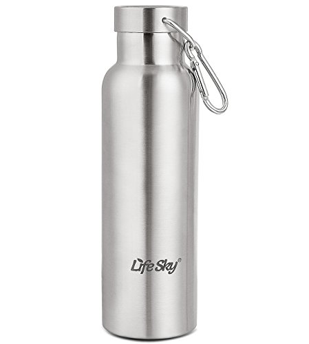 LifeSky Stainless Steel Sports Water Bottle - Double Walled Vacuum Insulated, Wide Mouth, BPA Free, 20oz (600ml) (Water Bottle Boil compare prices)