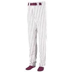 Striped Open Bottom Baseball Softball Pants - MEDIUM - MAROON & WHITE by Augusta