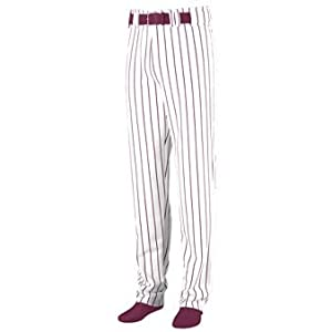 Youth Striped Open Bottom Baseball Softball Pants - WHITE & MAROON - SMALL by Augusta