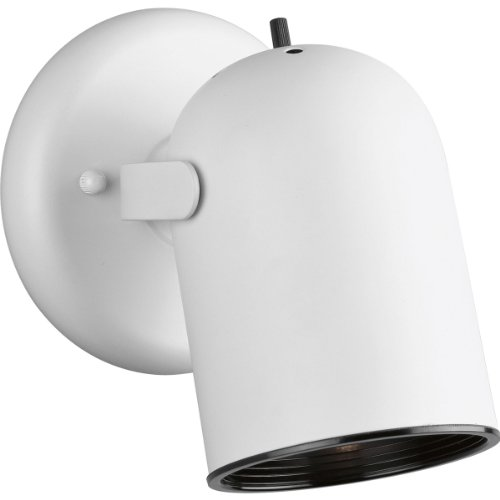 Progress Lighting P6155-30 1-Light Round Back Directional Metal Cylinder Style Light with On/Off Switch, White