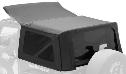 Bestop 79142-35 Black Diamond Sailcloth Replace-A-Top Soft Top With Tinted Windows; No Door Skins Included For 2010 Wrangler Jk 2-Door (Cable Top Design)