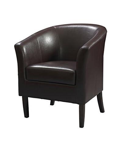 Linon Home Décor Simon Club Chair, Dark Walnut