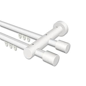 Interdeco Innenlauf Aluminium / Holz Weiß Gardinenstangen zweiläufig 20 mm Ø Talent Feta, 240 cm    Bewertungen und Beschreibung