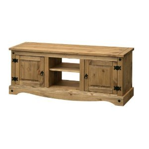 CORONA MEXICAN WAXED PINE SOLID WIDE FLATSCREEN TV CABINET / UNIT WITH 2 DOORS, FROM CENTURION PINE       Customer reviews and more information