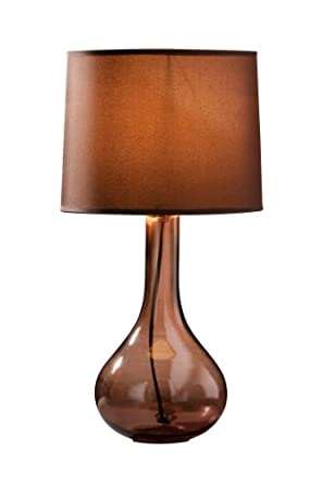 Premier Housewares Arlington Glass Table Lamp, Smoke Amber