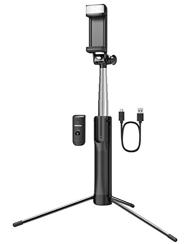 Mpow Selfie Stick Tripod, 3 in 1 Extendable Selfie Stick Monopod with Bluetooth Remote & Fill Light, Compatible with Gopro/Small Camera iPhone Xs max/XS/XR/X/8/8 plus/7/7 plus/6s,Galaxy S10/S9/8,Black [+Peso($57.00 c/100gr)] (US.AZ.13.99-0-B07JQFSVX2.2331
